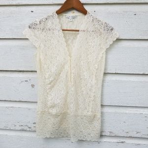CAbi #318 Sheer Soft Ivory Lace Stretchy Blouse